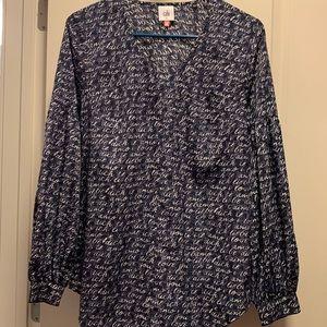 CAbi Navy Love Long Sleeve Blouse - 2/$20